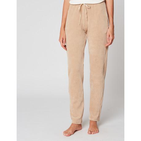 Pantalon homewear en velours BOYFRIEND 980 Miel