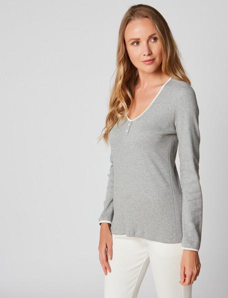 Tee-shirt en coton NAMASTE 931 Gris chiné