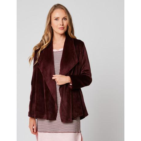 Fur draped loungewear jacket in ESSENTIEL H73A Prune