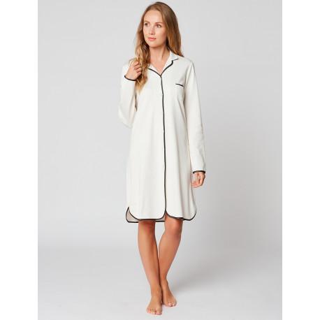 Chemise de nuit boutonnée en coton ESSENTIEL H05A Ecru