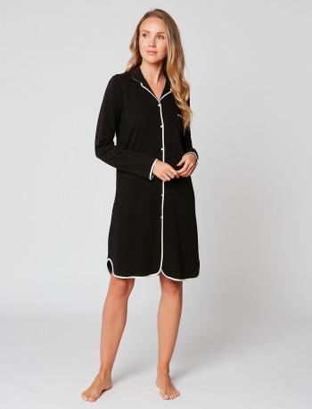 Button-down nightdress 100% cotton ESSENTIEL ESSENTIEL H05A Noir