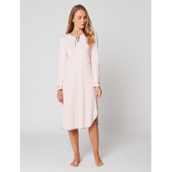 Long nightdress 100% cotton ESSENTIEL H21A Bois de rose