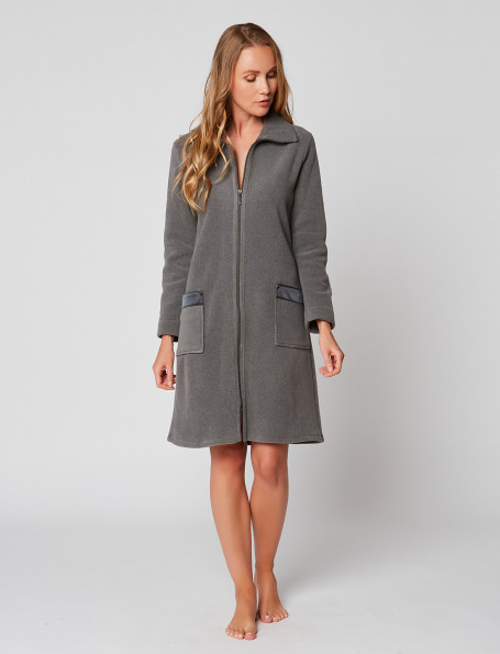 Zipped dressing gown in ESSENTIEL H54A Anthracite chiné
