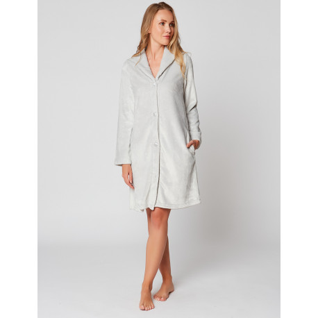 Fur Button-down dressing gown in ESSENTIEL H55A Brume