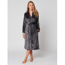 Fur wrap-over dressing gown in ESSENTIEL H60A Vison