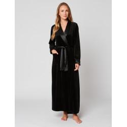 Velvet wrap-over dressing gown in ESSENTIEL H61A Noir