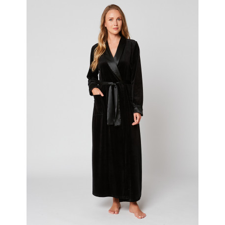 Velvet wrap-over dressing gown in ESSENTIEL H61A Noir