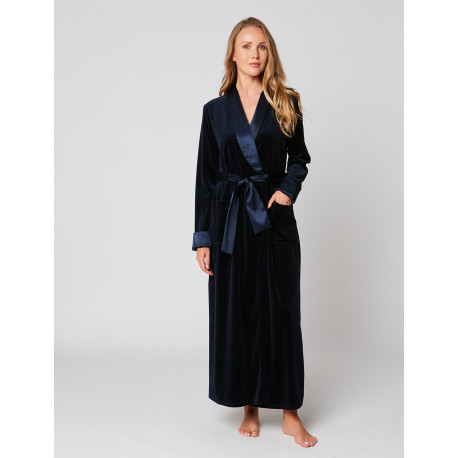 Velvet wrap-over dressing gown in ESSENTIEL H61A Nuit