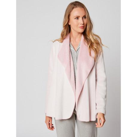 Fur draped loungewear jacket in ESSENTIEL H73A Rose chiné