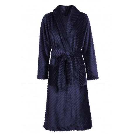 Wraparound robe in chenille fleece ESSENTIEL 964 Marine