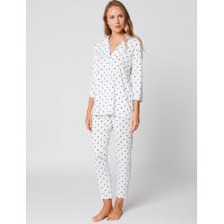 Pyjama boutonné à pois BELLAGIO 106 Blanc