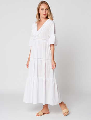 Robe longue en plumetis HYDRA 140 Blanc