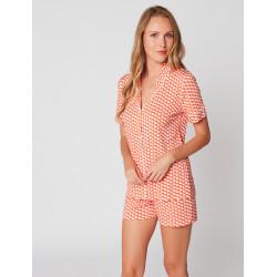 Pyjama short imprimé VITA 106 Mandarine