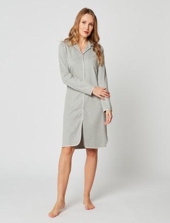Button-down nightdress 100% cotton ESSENTIEL H05A Gris