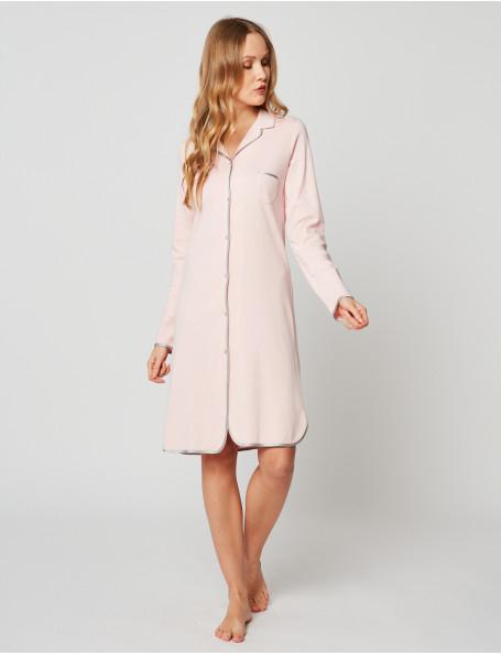 Chemise de nuit boutonnée en coton ESSENTIEL H05A Bois de rose