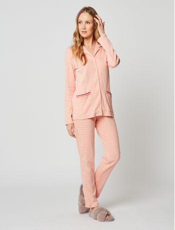 Pyjama boutonné coton PARESSE 206 Rose chiné