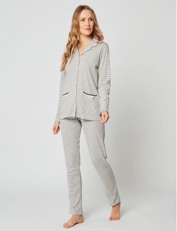 Pyjama boutonné coton PARESSE 206 Gris chiné