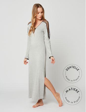 Full-length nightdress MOONLIGHT 211 Grey Fleck